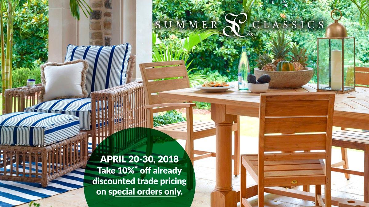 Summer Classics Special Order Sale: April 20-30, 2018 at IDS