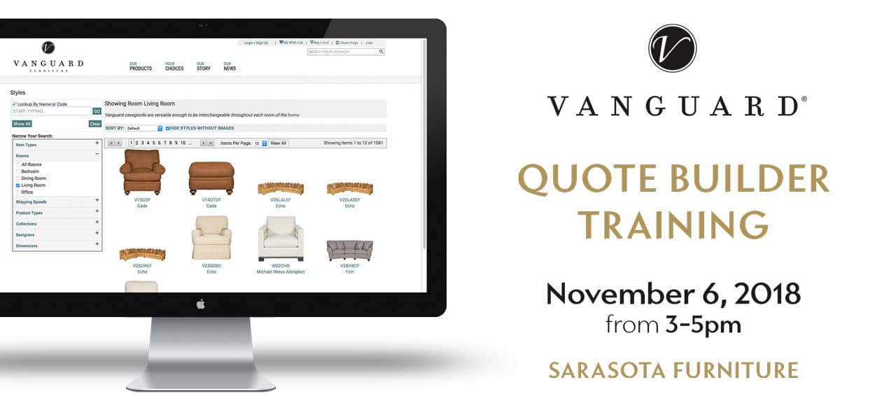 Vanguard Furniture QUOTE BUILDER TRAINING at IDS Sarasota Furniture
