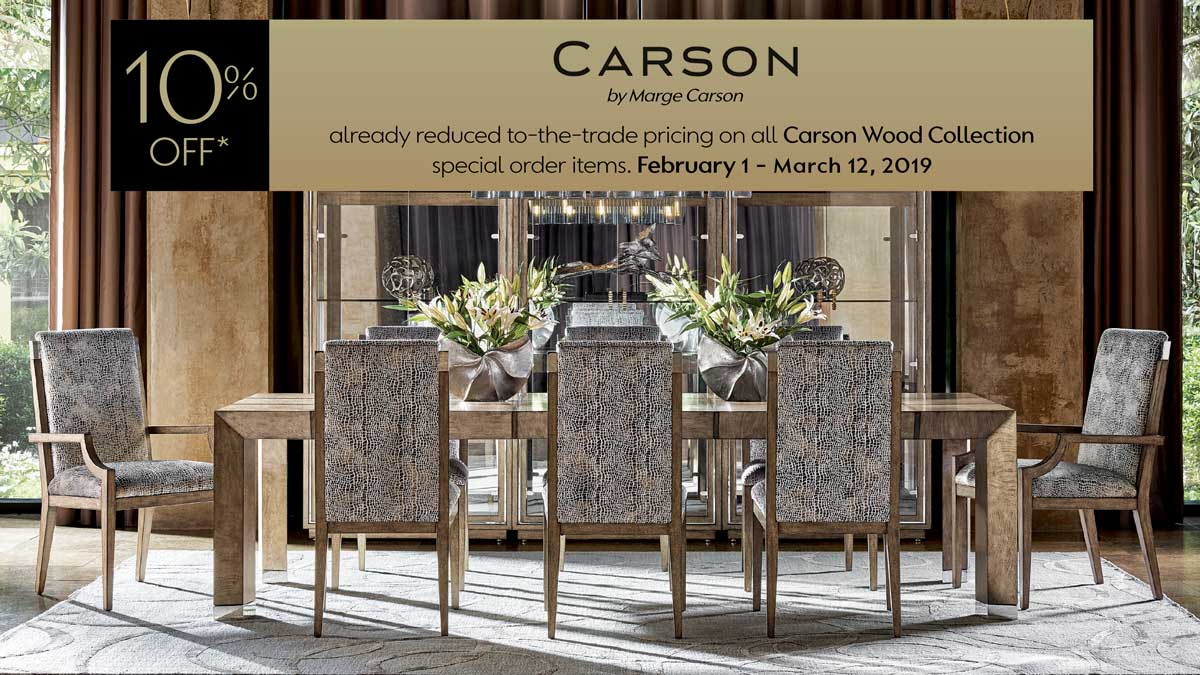 Carson by Marge Carson Wood Promotion at IDS February 1 -March 12, 2019.