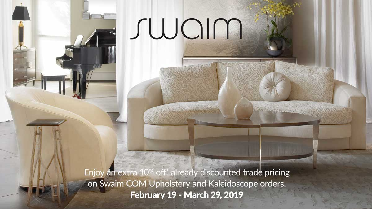 Enjoy an extra 10% off* already discounted trade pricing on Swaim COM Upholstery and Kaleidoscope orders.